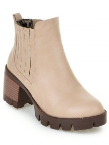 Buy Stitching Elastic Band Platform Ankle Boots 37 APRICOT