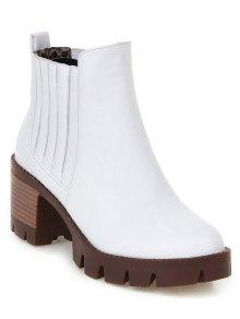Buy Stitching Elastic Band Platform Ankle Boots 37 WHITE