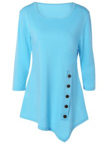Buttoned Three Quarter Sleeve Blouse