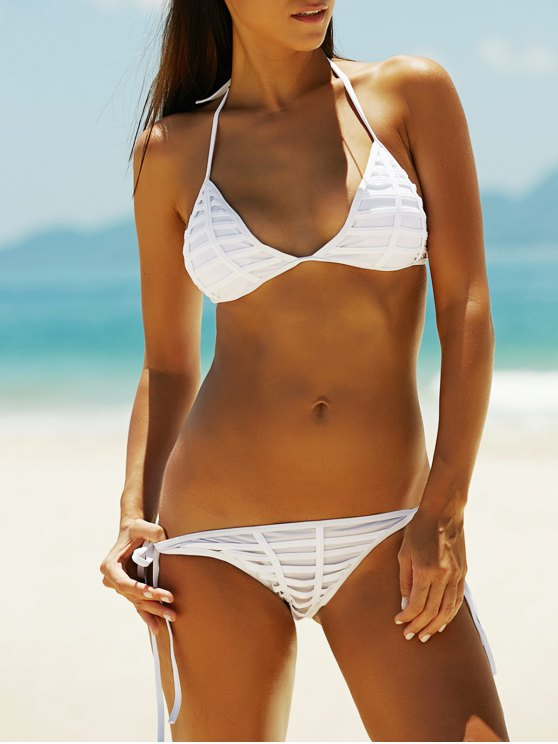 best Hollow Out Halter Women's Bikini Set - WHITE M