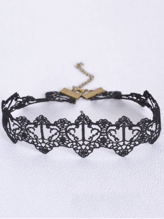 fancy Black Heart Choker - BLACK