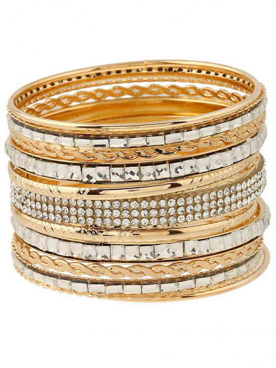 outfit Rhinestone Layered Bracelets - GOLDEN