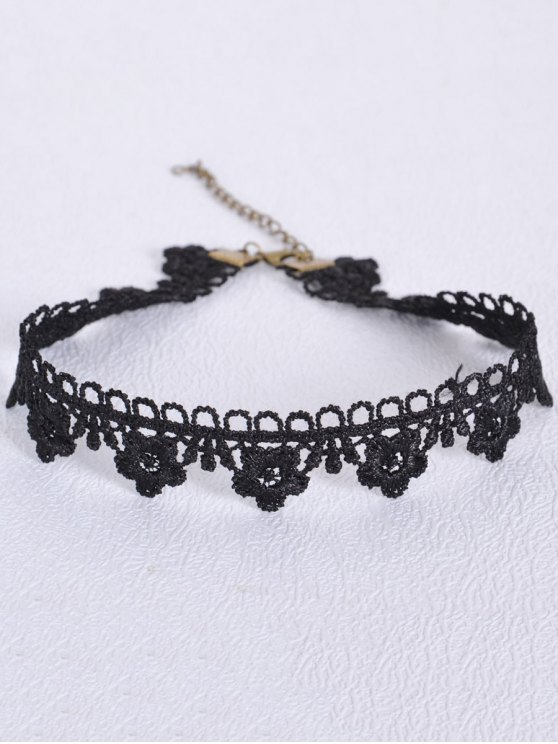 women Hollowed Flower Choker - BLACK