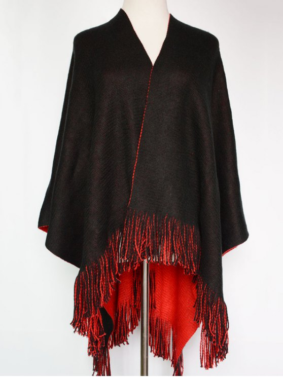 fashion Long Tassel Two-Sided Pashmina - RED WITH BLACK