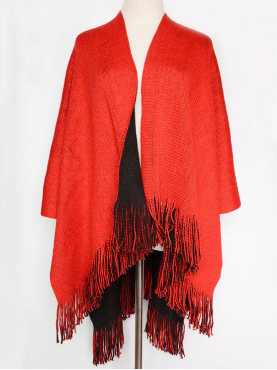 Long Tassel Two-Sided Pashmina - RED WITH BLACK  Mobile