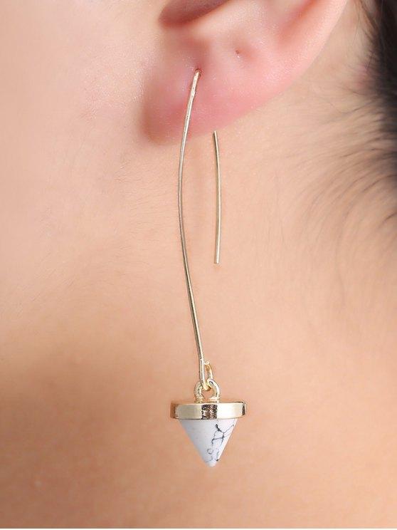 Faux Rammel Geometric Earrings - WHITE  Mobile