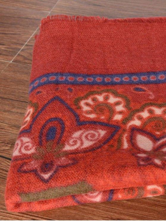 Arab Flower Fringed Pashmina - RED  Mobile
