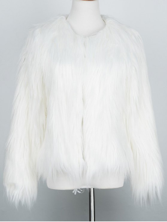 Fluffy Faux Fur Coat - WHITE L Mobile
