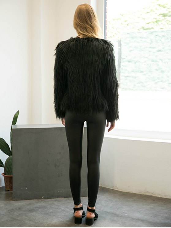 Fluffy Faux Fur Coat - BLACK S Mobile