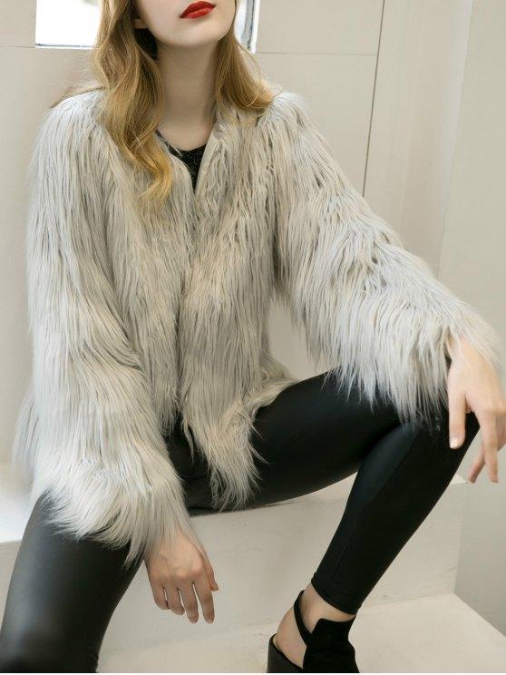 Fluffy Faux Fur Coat - LIGHT GRAY S Mobile