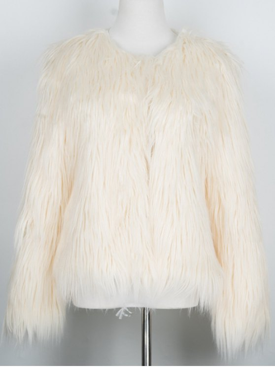 Fluffy Faux Fur Coat - BEIGE S Mobile