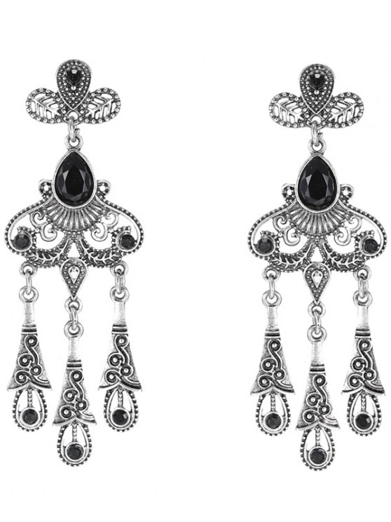 outfits Leaf Water Drop Earrings - BLACK