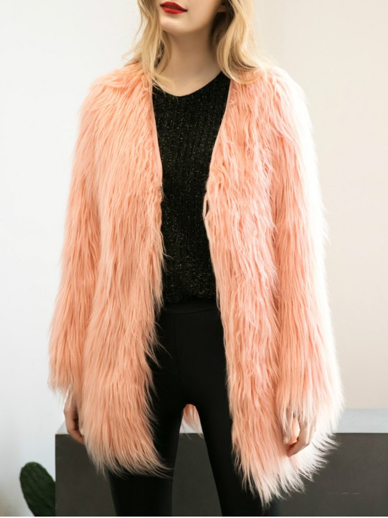 Open Front Fluffy Faux Fur Coat - PEACH PINK L Mobile