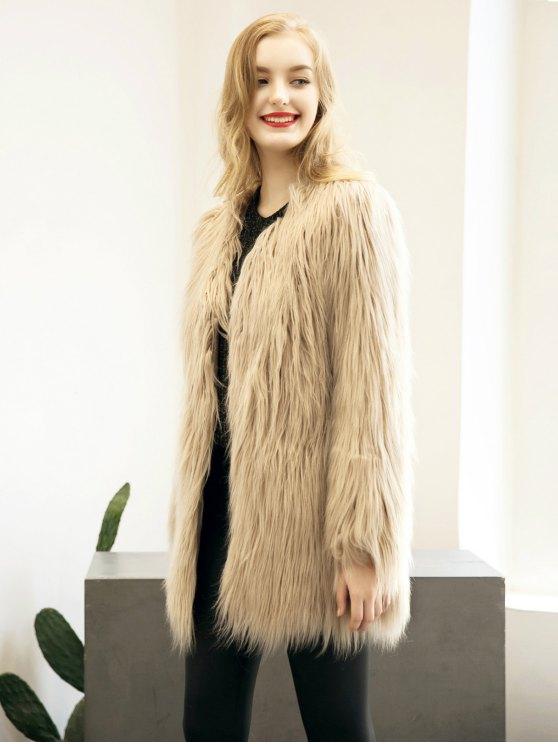 Open Front Fluffy Faux Fur Coat - LIGHT KHAKI L Mobile