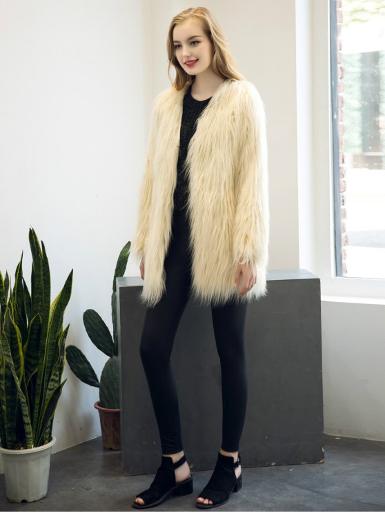 Open Front Fluffy Faux Fur Coat - BEIGE M Mobile