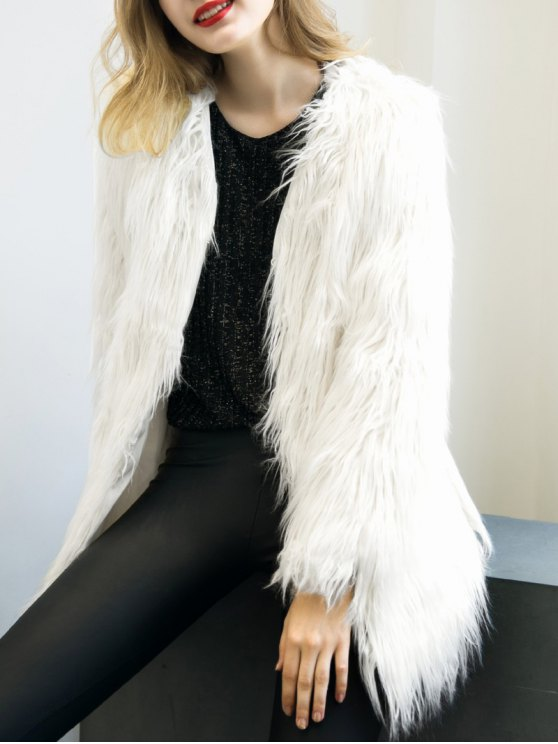 Open Front Fluffy Faux Fur Coat - WHITE L Mobile