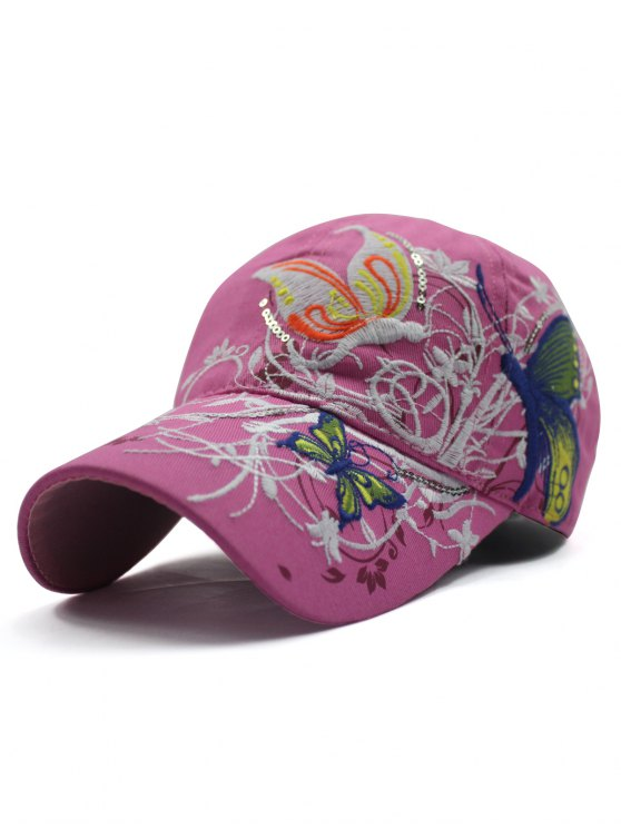 shops Rattan Butterfly Embroidery Baseball Hat - PEACH PINK