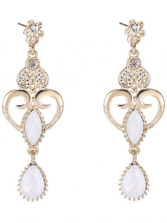fashion Heart Water Drop Fake Opal Earrings - WHITE