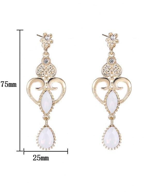 Heart Water Drop Fake Opal Earrings - WHITE  Mobile