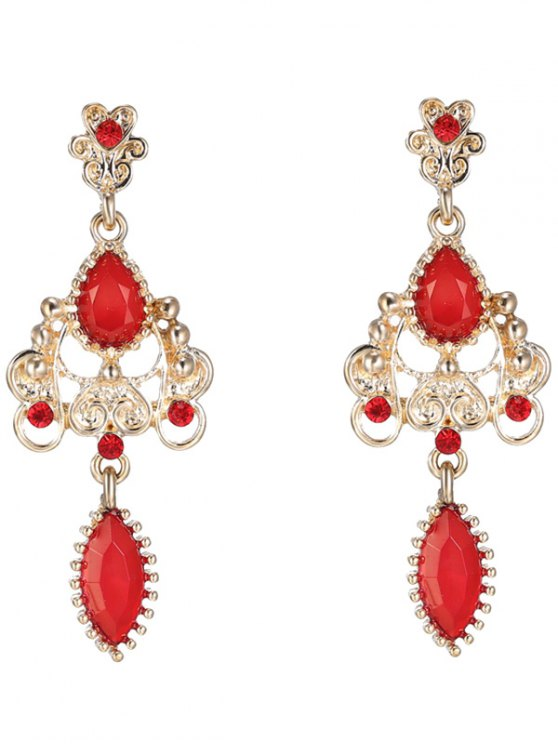 chic Fake Ruby Water Drop Earrings - RED