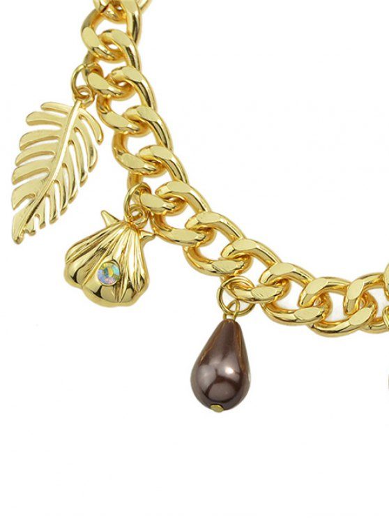 Rhinestone Leaf Cross Bracelet -   Mobile