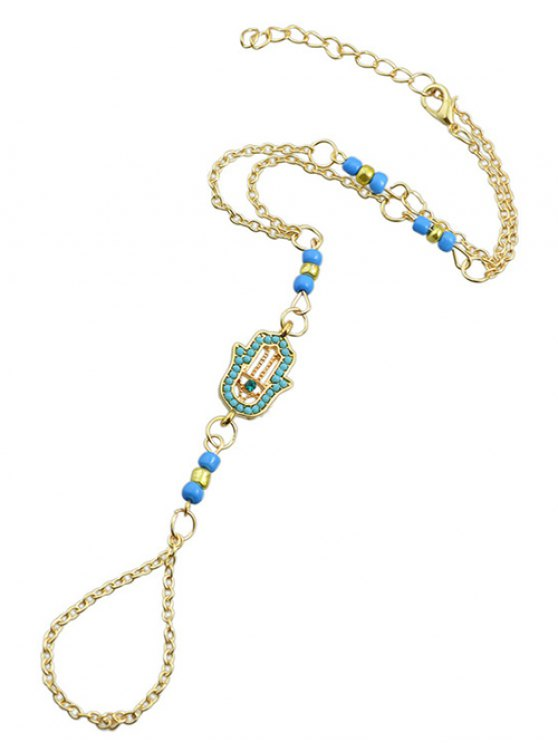 Hand Faux Gem Beads Anklet - BLUE  Mobile