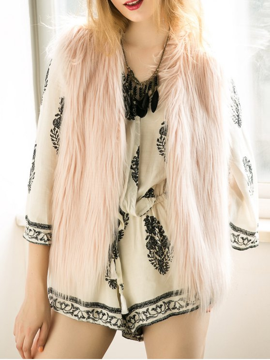 Thicken Solid Color Faux Fur Waistcoat - NUDE PINK XL Mobile
