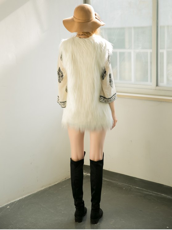 Thicken Solid Color Long Faux Fur Waistcoat - WHITE S Mobile