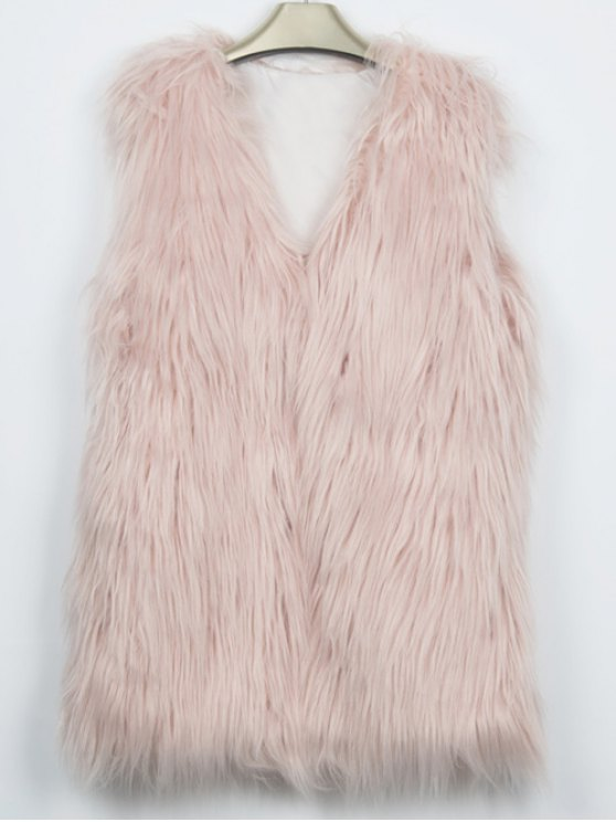 Thicken Solid Color Long Faux Fur Waistcoat - NUDE PINK M Mobile