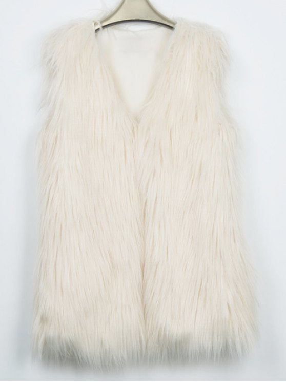 Thicken Solid Color Long Faux Fur Waistcoat -   Mobile
