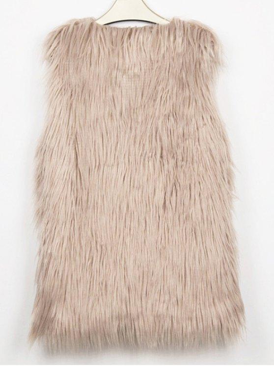 Thicken Solid Color Long Faux Fur Waistcoat - LIGHT KHAKI 2XL Mobile