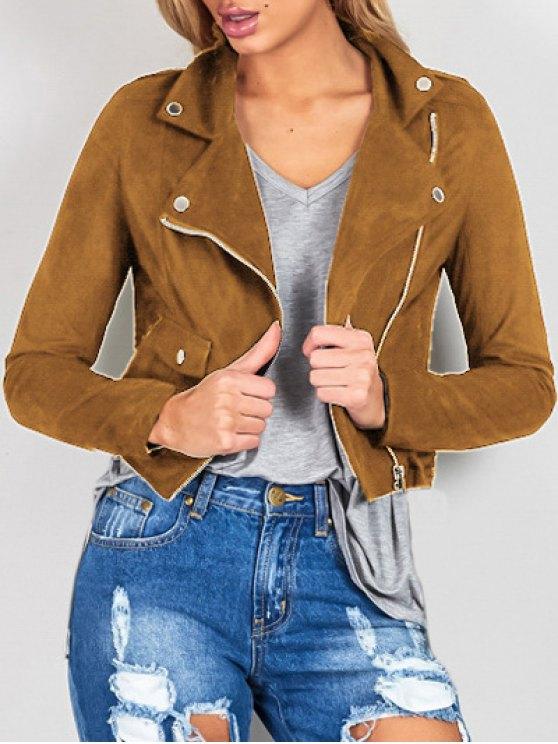 ladies Suede Lapel Collar Zipper Up Jacket - BROWN M