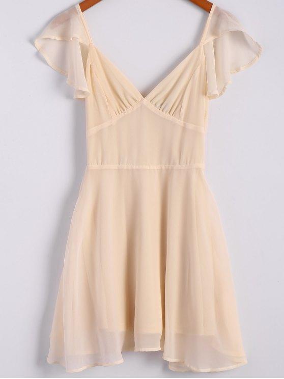 shops Solid Color Flounce Short Sleeve Chiffon Dress - APRICOT S