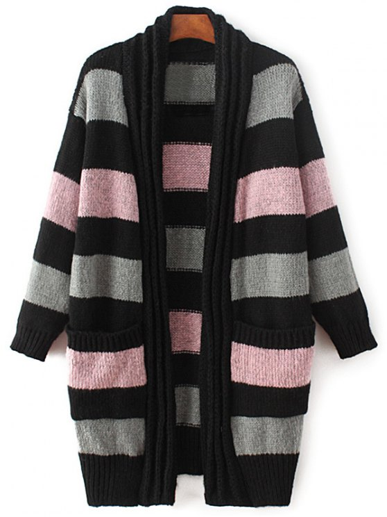 chic Striped Long Sleeve Thicken Cardigan - PINK ONE SIZE