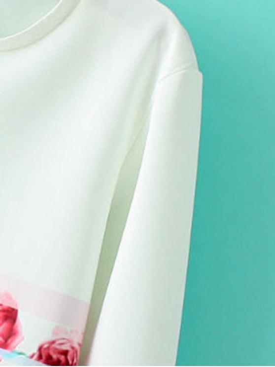 Round Neck Floral Sweatshirt - WHITE S Mobile