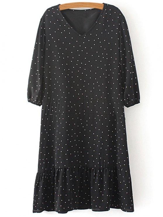 shop Polka Dot V Neck 3/4 Sleeve Dress - BLACK L