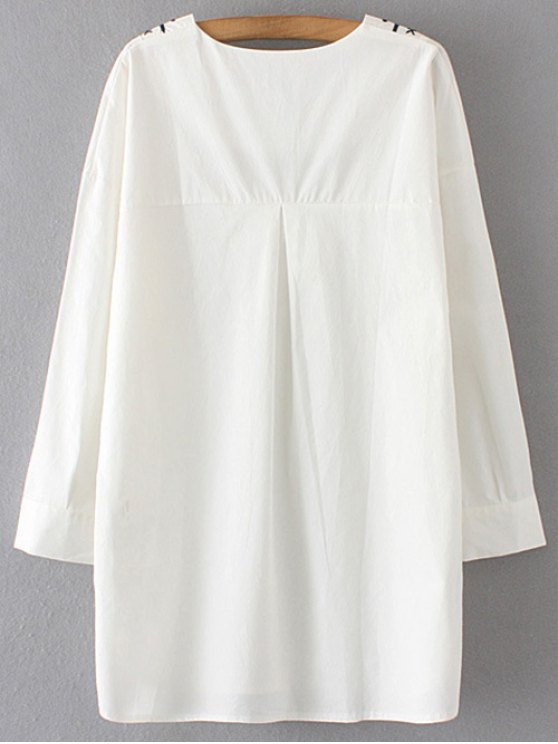 Long Sleeve V Neck Straight Dress - WHITE L Mobile