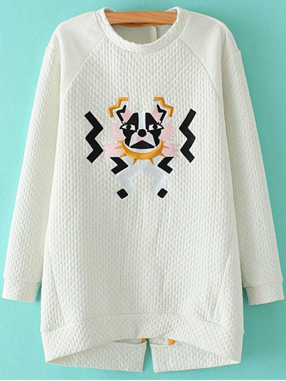buy Cartoon Embroidered Stand Neck Sweatshirt - WHITE M