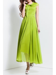Bowknot Collar Solid Color Maxi Dress - Neon Green S