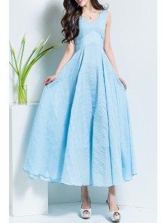 V Neck Solid Color Maxi Dress - Azure S
