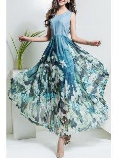 Floral V Neck Maxi Chiffon Flowy Dress - Light Blue S