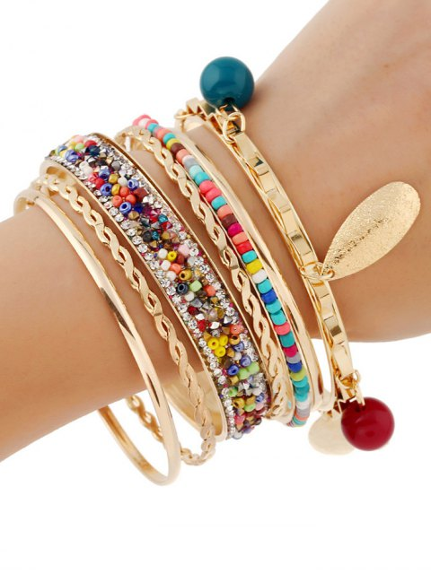 buy Rhinestone Beads Bracelets - GOLDEN  Mobile