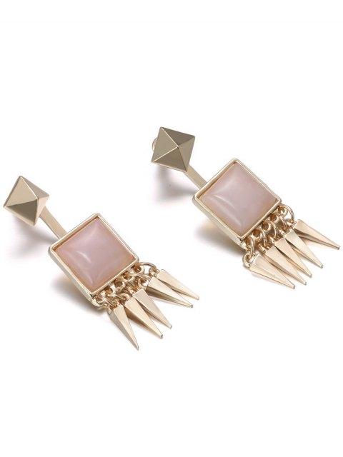 ladies Faux Gem Rivet Earrings - PINK  Mobile