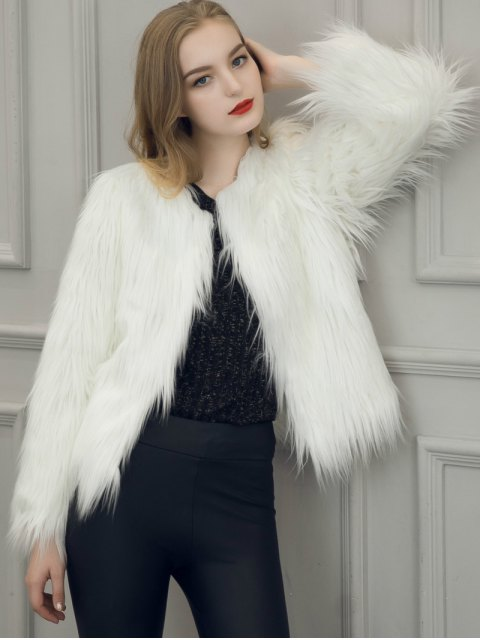 affordable Fluffy Faux Fur Coat - WHITE 3XL Mobile