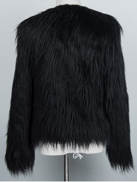 affordable Fluffy Faux Fur Coat - BLACK 3XL Mobile