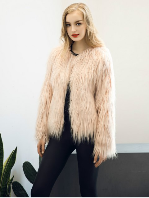 outfit Fluffy Faux Fur Coat - LIGHT PINK S Mobile