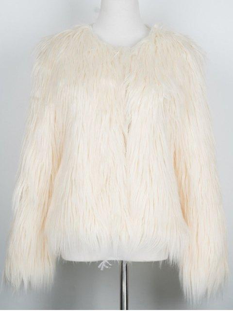women Fluffy Faux Fur Coat - BEIGE 2XL Mobile