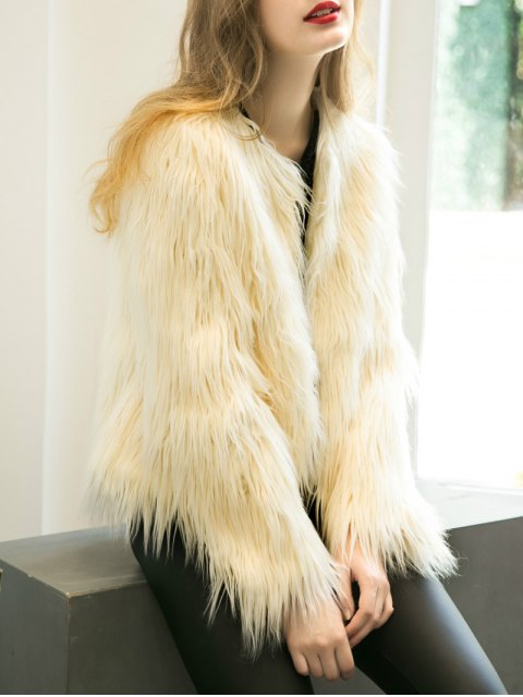 best Fluffy Faux Fur Coat - BEIGE S Mobile