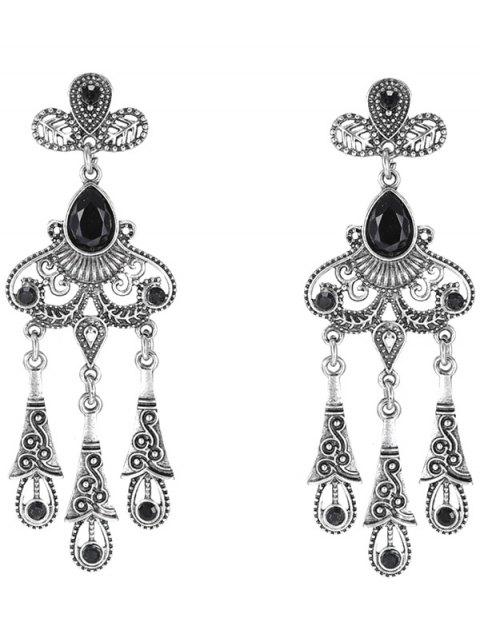 outfits Leaf Water Drop Earrings - BLACK  Mobile