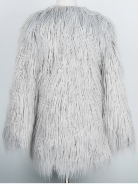 online Open Front Fluffy Faux Fur Coat - LIGHT GRAY 3XL Mobile